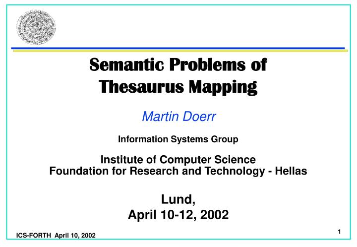 semantic problems of thesaurus mapping n.