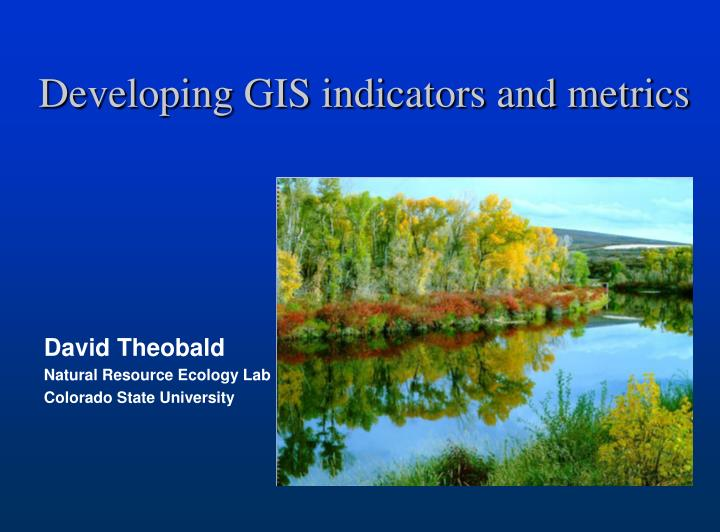 developing gis indicators and metrics n.