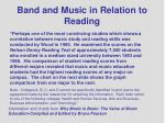 band and music in relation to reading