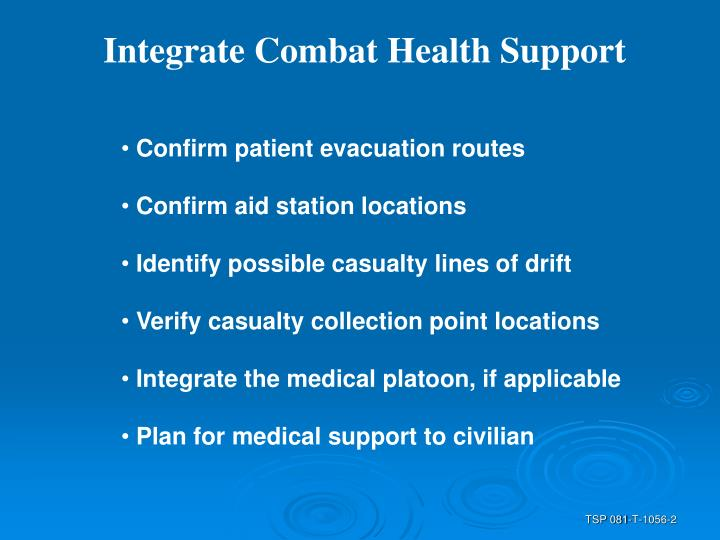 Integrate Combat Health Support