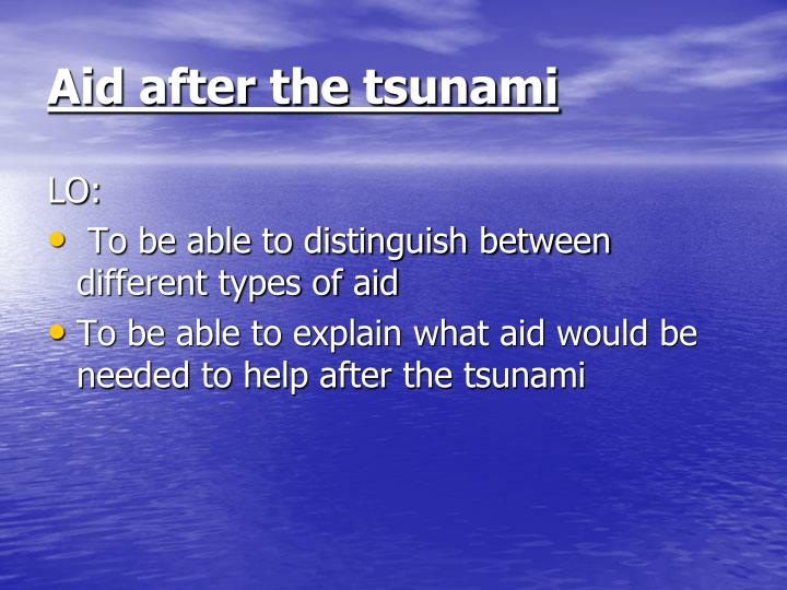 aid after the tsunami n.