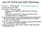 joint 9 th acfa and gde workshop