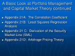 a basic look at portfolio management and capital market theory continued