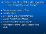 a basic look at portfolio management and capital market theory