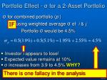 portfolio effect for a 2 asset portfolio