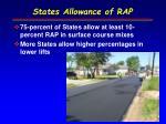 states allowance of rap