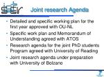 joint research agenda