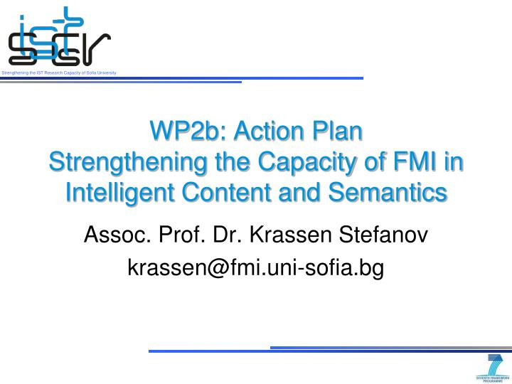 wp2b action plan strengthening the capacity of fmi in intelligent content and semantics n.