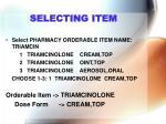 selecting item