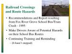 railroad crossings and route hazards