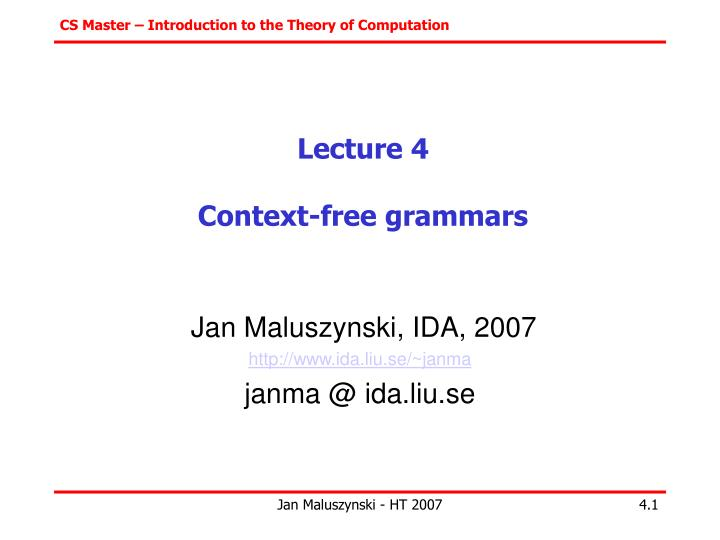 lecture 4 context free grammars n.