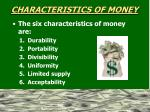 characteristics of money1