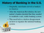 history of banking in the u s