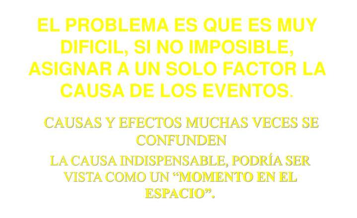 EL PROBLEMA ES QUE ES MUY DIFICIL, SI NO IMPOSIBLE, ASIGNAR A UN SOLO FACTOR LA CAUSA DE LOS EVENTOS