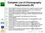 complete list of choreography requirements iii