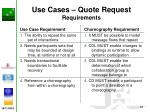 use cases quote request requirements