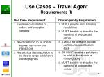 use cases travel agent requirements i