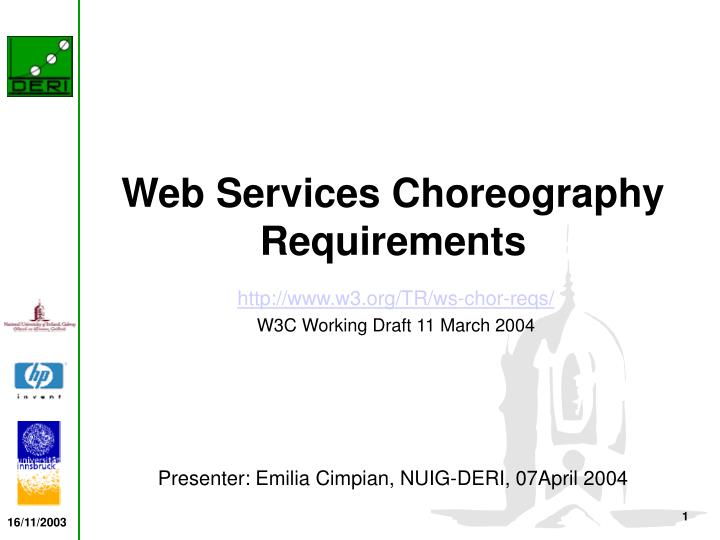 web services choreography requirements n.
