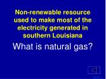 non renewable resource used to make most of the electricity generated in southern louisiana1