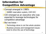 information for competitive advantage