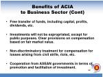 benefits of acia to business sector cont