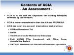 contents of acia an assessment