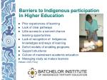 barriers to indigenous participation in higher education