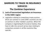 barriers to trade in insurance services the zambian experience