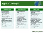 types of coverages