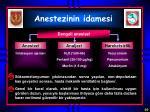 anestezinin idamesi