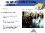 key considerations for course selection