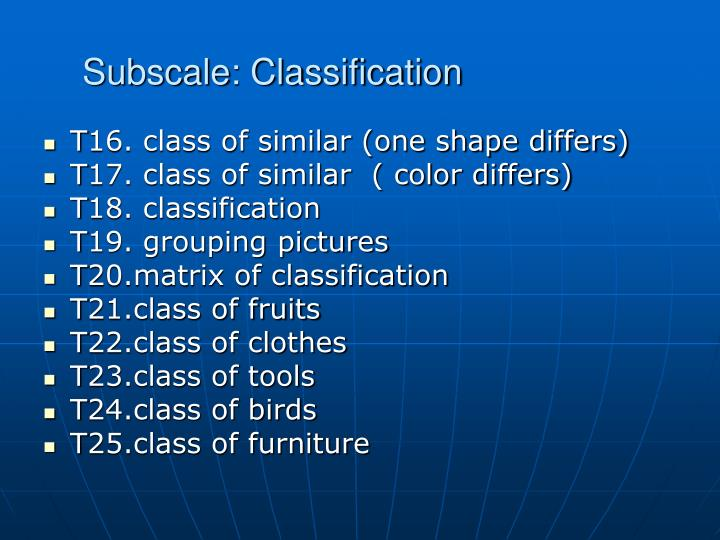 Subscale: Classification