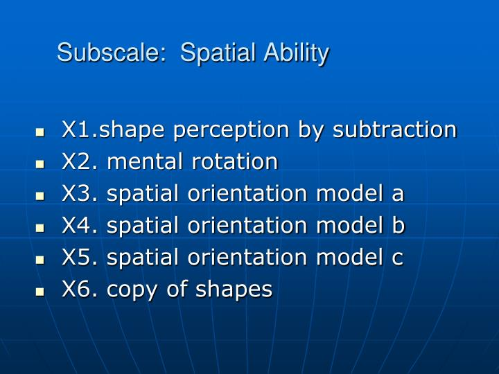 Subscale:  Spatial Ability