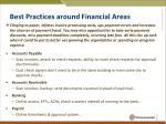 best practices around financial areas