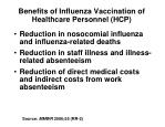 benefits of influenza vaccination of healthcare personnel hcp