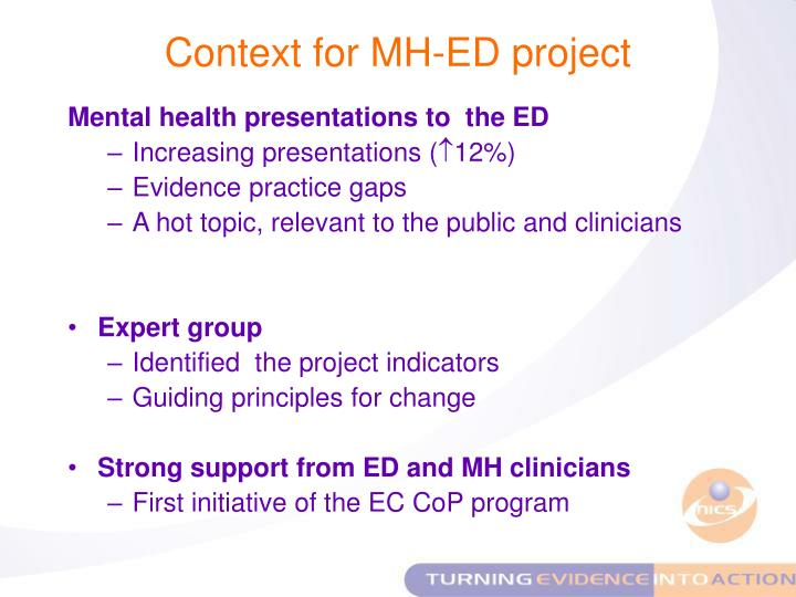 Context for MH-ED project