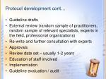 protocol development cont