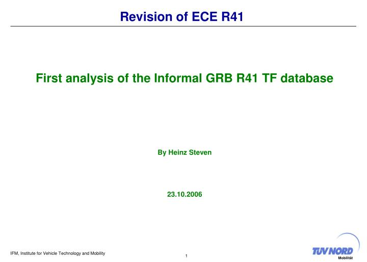 revision of ece r41 n.