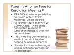 parent s attorney fees for resolution meeting