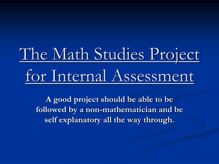 the math studies project for internal assessment n.