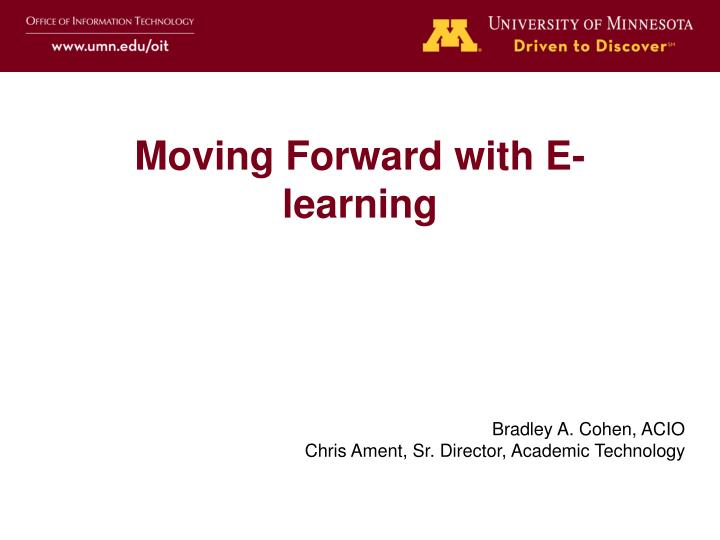 moving forward with e learning n.