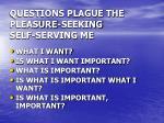 questions plague the pleasure seeking self serving me