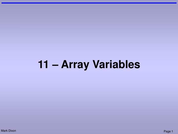 11 array variables n.