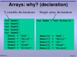 arrays why declaration
