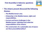 first assembly in valencia questions raised