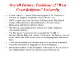 overall picture traditions of west coast religious university