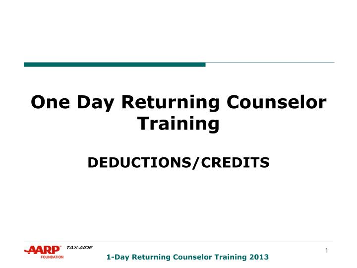 one day returning counselor training n.