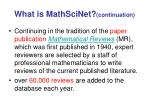 what is mathscinet continuation