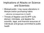implications of attacks on science and scientists1