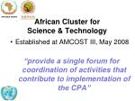 african cluster for science technology